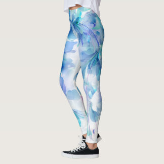 Blue Purple And White Flowers Leggings