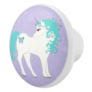 Blue, Purple and White Unicorn Knob