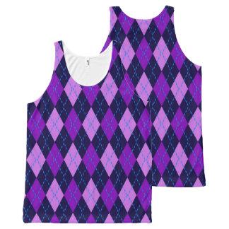 Blue Purple Argyle Pattern All-Over-Print Tank Top