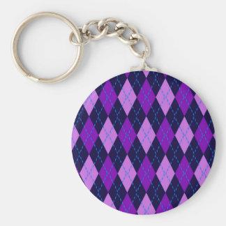 Blue Purple Argyle Pattern Keychain