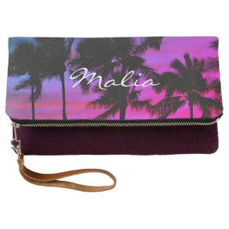 Blue Purple Beach Palms Hawaiian Sky Clutch
