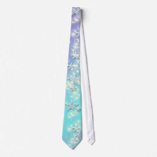 Blue purple beach starfish wedding tie
