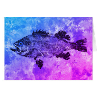 "Blue & Purple Black Sea Bass – 7"" x 5"" Art Card"