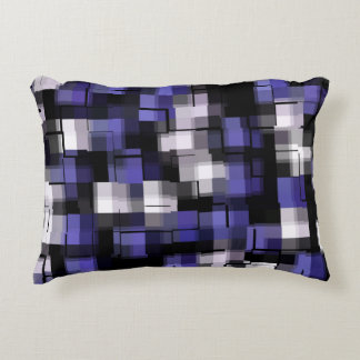 Blue Purple Black White Trendy Accent Pillow