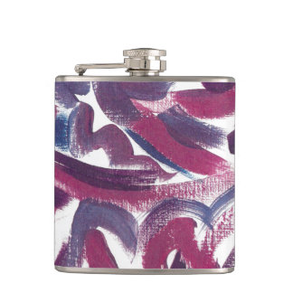 Blue Purple Brushstrokes-Modern Art Handpainted Hip Flask