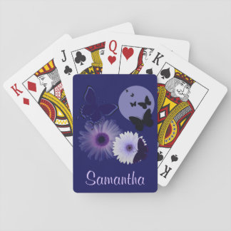 Blue Purple Butterfly and Daisy Personalized Poker Deck