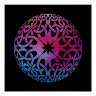 Blue Purple Celtic knot circle  Poster