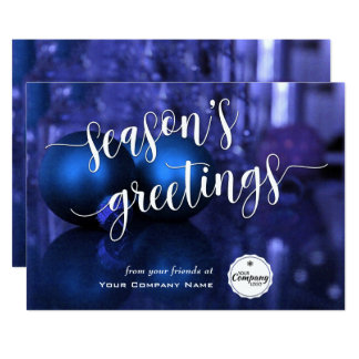 Blue & Purple Corporate Season's Greetings Script Card