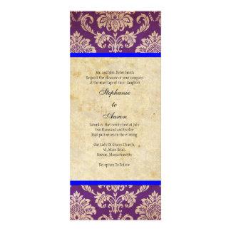 Blue Purple Damask Wedding Invitation