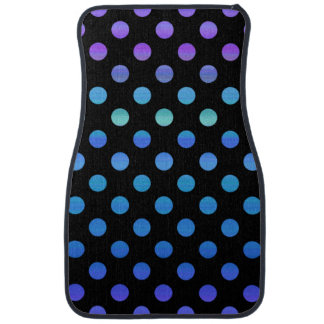 Blue Purple Dots on Black Floor Mat