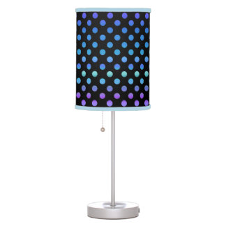 Blue Purple Dots on Black Table Lamp