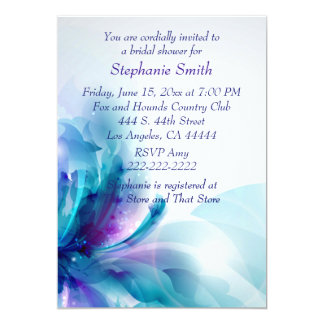 Blue Purple Floral Design Bridal Shower Invitation