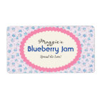 Blue Purple Floral Jam Jar Labels, Custom