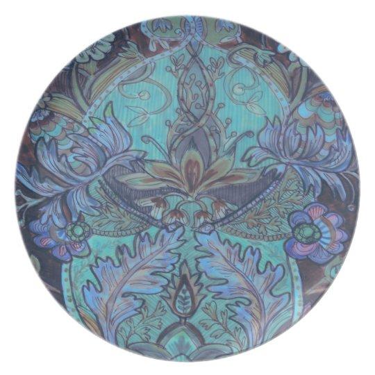 Blue / Purple Floral Melamine Plate