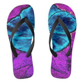 Blue Purple Flowered Flip Flops