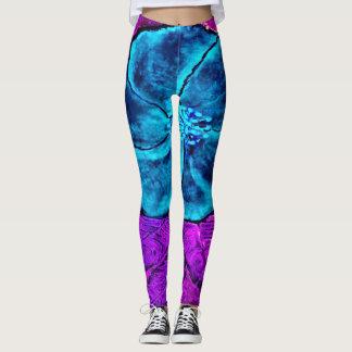 Blue Purple Flowered Leggings
