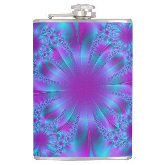 Blue purple fractal illustration hip flask
