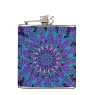 Blue Purple Fractal Tie-Dye Trippy Fun Flask