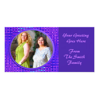 blue purple frame custom photo card