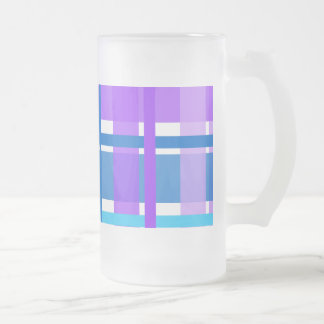 Blue & Purple Gingham Plaid Frosted Glass Beer Mug
