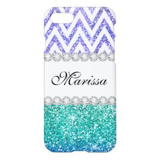 Blue Purple Glitter Ombre Chevrons White Zazzle iPhone 8/7 Case