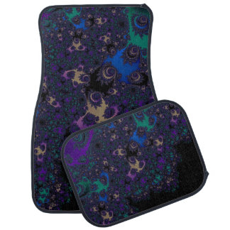 Blue Purple Gold Black Fractal Lace Car Mat