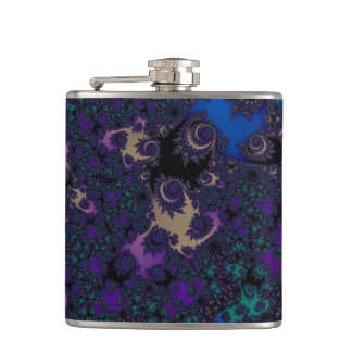 Blue Purple Gold Black Fractal Lace Hip Flask