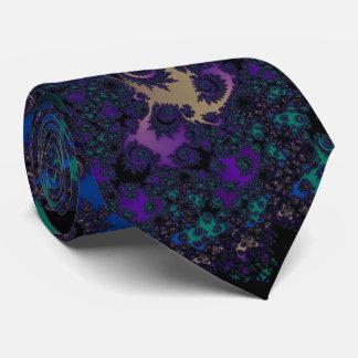 Blue Purple Gold Black Fractal Lace Tie