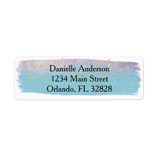 Blue,Purple & Gold Watercolor Return Address Label