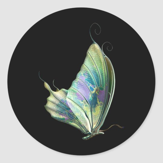 Blue Purple Green Butterfly Classic Round Sticker