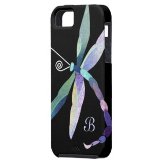 Blue Purple Green Dragonfly Monogram iPhone 5 Covers
