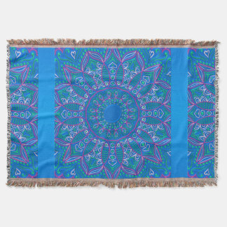 Blue Purple Green Mandala Fleece Throw Blanket