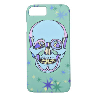 Blue, Purple, Green Pastel Skull iPhone 7 Case