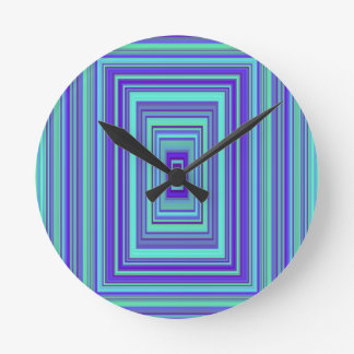 Blue Purple Green Rectangles Geometric Art Round Clock