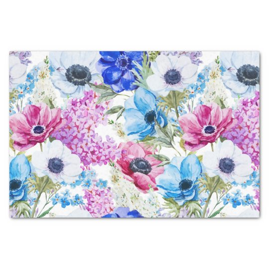 Blue purple hand painted watercolor floral pattern tissue paper