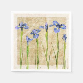 Blue Purple Iris Flowers Brown Background Floral Paper Napkins