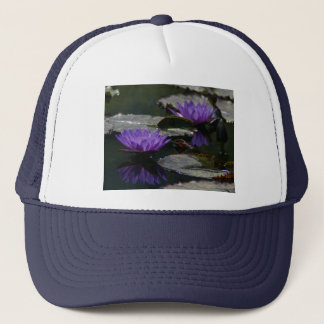 Blue Purple Lotus Waterlilies Hat