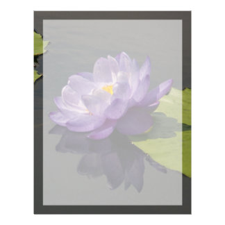 Blue Purple Lotus Waterlily Flower Letterhead