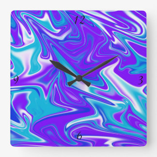 Blue Purple Marble Abstract  , Square Wall Clock. Square Wall Clock