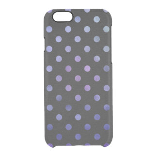 Blue Purple Metallic Faux Foil Polka Dot Black Clear iPhone 6/6S Case