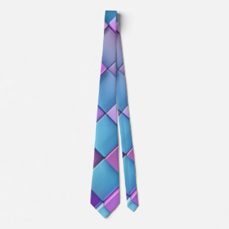 Blue Purple Multi color Square Pattern Design Tie