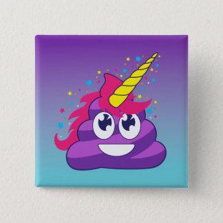 Blue & Purple Ombre Unicorn Poo Emoji 2 Inch Square Button