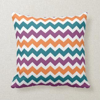 Blue Purple Orange Chevron Decorative Pillow
