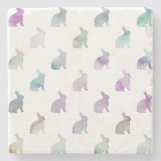 Blue Purple Pastel Watercolor Bunny Background Stone Coaster