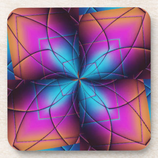 Blue Purple Pink And Orange Abstract Pattern Coaster
