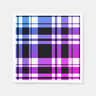 Blue purple pink and  White Plaid Paper Napkin