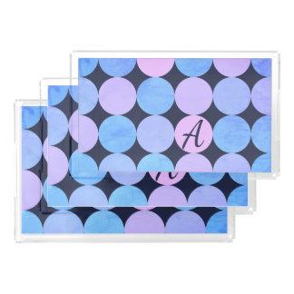 Blue Purple & Pink Circles Monogram Acrylic Tray