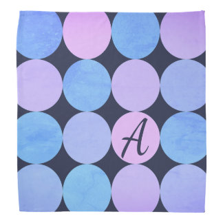 Blue Purple & Pink Circles Monogram Bandana
