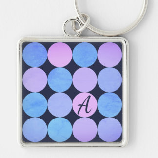 Blue Purple & Pink Circles Monogram Keychain