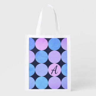 Blue Purple & Pink Circles Monogram Reusable Grocery Bag